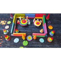 Wooden Toy Rainbow Imagination Building Set, Construction Toy,  Blocks, Reels, Cones and Pegdolls, very versatile open ended play. - Construction Gifts