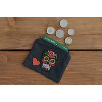 Skull coin purse  money purse, sugar skull gift, money pouch, sugar skull purse, card wallet, storage pouch, zipper purse, day of the dead - Money Gifts