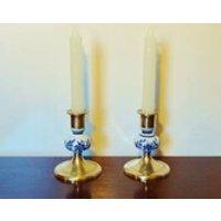 PORCELAIN  BRASS CANDLEHOLDERS  Cobalt Blue Floral Pattern on White Porcelain  Holds Standard Candles (2 cm)  3 7/8 (10 cm) Tall - Seek Gifts
