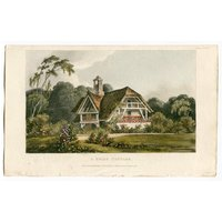 Garden Architecture Print, A Swiss Cottage by John Papworth, Architect, and Artist, Published by R. Ackermann. 1819 Hand Coloured Aquatint. - Artist Gifts