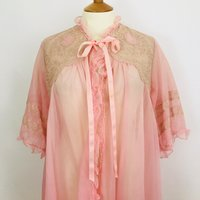 Vintage nylon dressing gown sheer pink robe 1950s 1960s vintage lace frilly Nightie slumber party 60s size 12 14 pin up burlesque lingerie - Lingerie Gifts