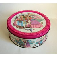 Vintage Quality Street Sweet Tin  1970s or 1980s Round Tin with Regency Lady and Soldier - Sweet Gifts