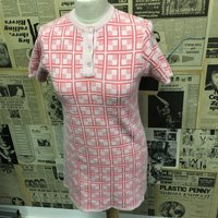 Ladies Vintage 1960s Knitted Sweater Dress Pink Square Button Neck Size 12 UK Cheap UK  Worldwide Postage - Seek Gifts