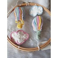 Hand Crocheted Hot Air Balloon Circular Baby Mobile.  Newborn Gift, Nursery Decor. Unusual Item - Hot Air Balloon Gifts
