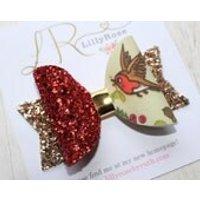 Handmade Artisan Robin Red Breast and Mistletoe Hair bow with Red Glitter and Gold - Mistletoe Gifts