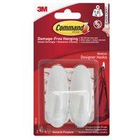 3M Command White Plastic Hooks Pack of 2