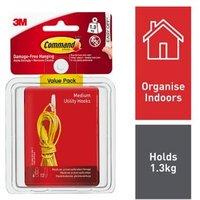 3M Command White Plastic Hooks  Pack of 6