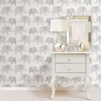 Wallpops Elephant Parade Grey Peel & Stick Wallpaper (L)5500mm (W)520mm