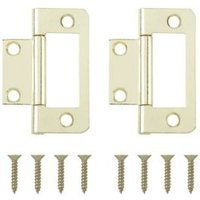 Brass effect Metal Flush hinge  Pack of 2