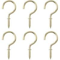 B&Q Brass Effect Metal Cup Hook  Pack of 6