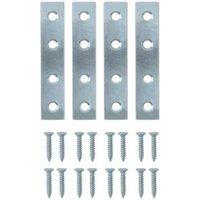 B&Q Zinc effect Steel Mending plate (L)75mm  Pack of 4