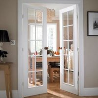 10 panel 10 Lite Clear Glazed Primed Internal French French door set (H)1981mm (W)1168mm