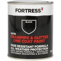 Fortress Black Satin Drainpipe & gutter paint 0.75L