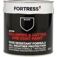 Fortress Black Satin Drainpipe & gutter paint 2.5L