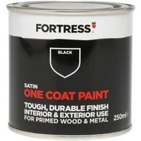 Fortress One coat Black Satin Metal & wood paint 0.25L