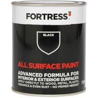 Fortress Black Matt Multi-surface paint 750ml