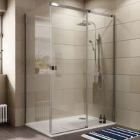Cooke & Lewis Luxuriant Rectangular RH Shower Enclosure  Tray & Waste Pack with Single Sliding Door (W)1400mm (D)900mm
