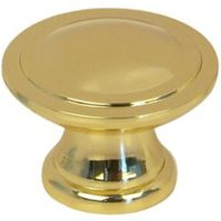 B&Q Polished Gold Effect Round Internal Knob Furniture Knob