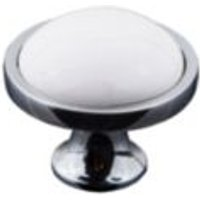 B&Q White Chrome Effect Classic Knob Furniture Knob
