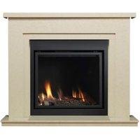 Ignite Cream & black Marble effect Gas Fire Suite