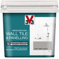 V33 Renovation Loft grey Satin Wall tile and panelling paint  0.75L