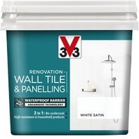 V33 Renovation White Satin Wall tile and panelling paint  0.75L