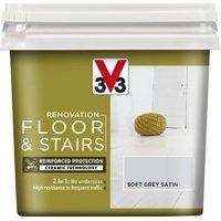 V33 Renovation Loft grey Satin Floor & stair paint 0.75L
