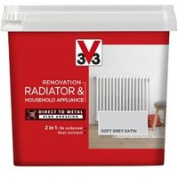 V33 Renovation Soft grey Satin Radiator & appliance paint 750ml