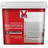 V33 Renovation Loft grey Satin Radiator & appliance paint 750ml