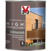 V33 High protection Dark oak Mid sheen Wood stain 750ml