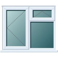 White PVCu LH Side Hung with Top Vent over Fixed Lite Window (H)970mm (W)1190mm