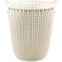 Curver Oasis white Knit effect Plastic Circular Kitchen bin
