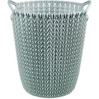 Curver Misty blue Knit effect Plastic Circular Kitchen bin 7L