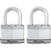 Master Lock Excell Steel 5-Pin Tumbler Open Shackle Padlock (W)64mm  Pack of 2