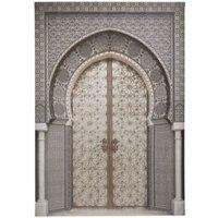 Oriental Door Grey Embellished Canvas (W)925mm (H)650mm