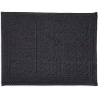 Marinette Saint-Tropez Astone Dark Grey Tile Cotton Bath Mat (L)500mm (W)700mm