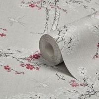 Colours Blossoming Grey & purple Foliage & bird Wallpaper
