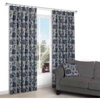 Chamique Grey Floral Applique Jacquard Pencil pleat Lined Curtains (W)167 cm (L)183 cm