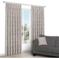 Chamique Serenity Floral Applique Jacquard Pencil pleat Lined Curtains (W)228 cm (L)228 cm