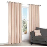 Christina Cream & Red Stripe Eyelet Lined Curtains (W)117 cm (L)137 cm
