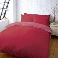 Colours Zen Plain & Striped Red Single Bed Set