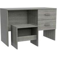 Darwin Grey Oak Effect 2 Drawer Desk with Stool