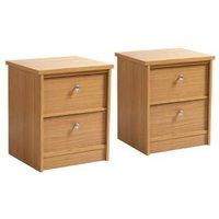 Kendal Oak effect 2 Drawer Bedside chest (H)560mm (W)480mm (D)400mm Set of 2
