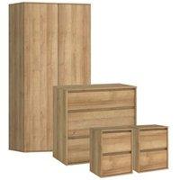 Pattinson Oak effect 4 piece bedroom furniture set