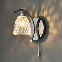 Tetbury Modern Chrome Effect Plate & Clear Glass Wall Light