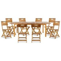 Denia Wooden 8 seater Dining set with 8 standard chairs