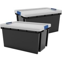 Xago Heavy duty Grey 51L Plastic Large Stackable Storage box  Pack of 2