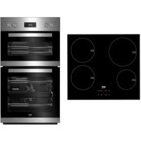 Beko Stainless steel Double Multifunction Oven & induction hob pack
