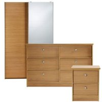 Kendal Matt Natural and Oak effect 3 piece bedroom furniture set
