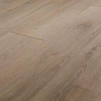 Leiston Grey Oak effect High-density fibreboard (HDF) Laminate Flooring Sample